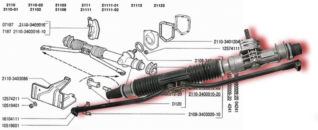 Ваз 2110 ремонт рулевая рейка